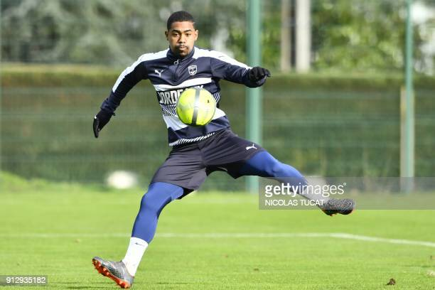 Bordeaux's Brazilian forward Malcom shoots the ball during a training session on February 1 2018 at the Haillan training centre near Bordeaux...