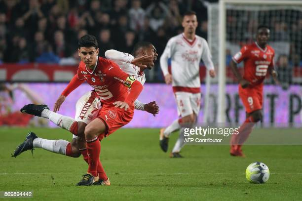Bordeaux's Brazilian forward Malcom vies with Rennes' French midfielder Benjamin Andre during the French L1 football match between Rennes and...