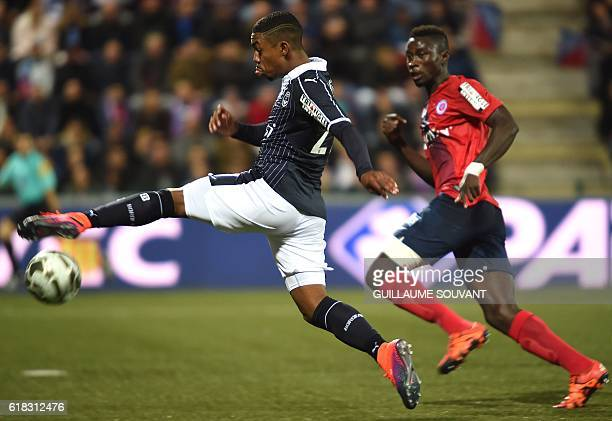 Bordeaux's Bresilian forward Malcom controls the ball during the French League Cup football match between La Berrichone Chateauroux and Girondins de...