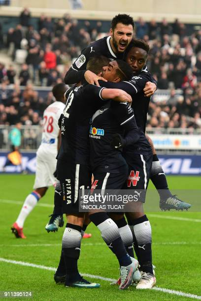 Bordeaux's celebrate after scoring a goal during the French Ligue 1 football match between Bordeaux and Lyon on January 28 2018 at the Matmut...