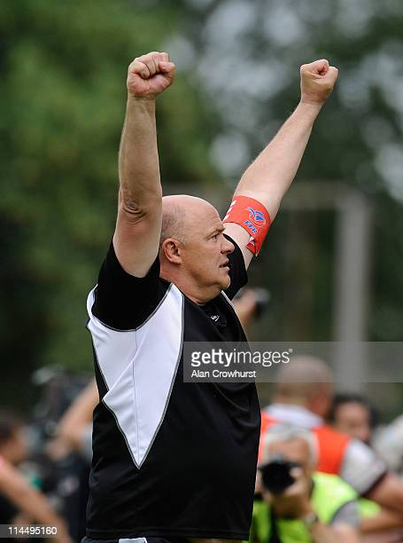 Bordeaux's coach Marc Delpoux celebrates victory in the Pro D2 playoff final between Sporting Club Albigeois and Union BordeauxBegles at Stade...