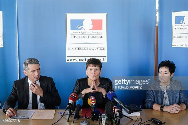Bordeaux's courthouse prosecutor MarieMadeleine Alliot and Judiciary police interregional director François Bodin give a press conference regarding...