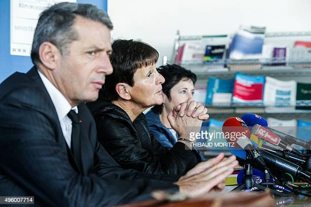 Bordeaux's courthouse prosecutor MarieMadeleine Alliot gives a press conference regarding the case of a school teacher arrested on October 27 2015...