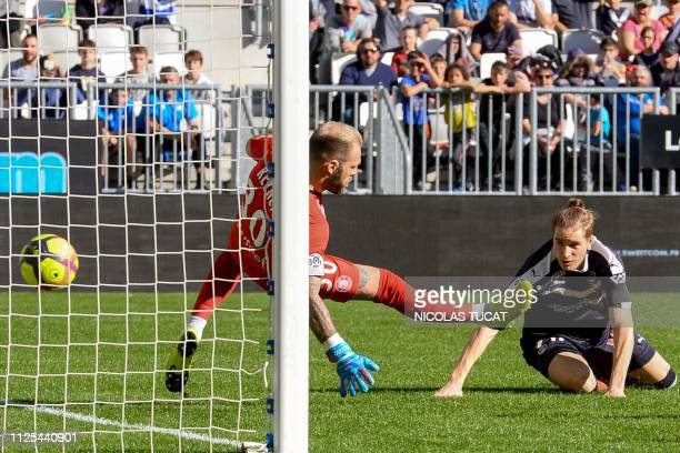 Bordeaux's Croatian midfielder Toma Basic scores a goal during the French L1 football match between Bordeaux and Toulouse at the Matmut Atlantique...