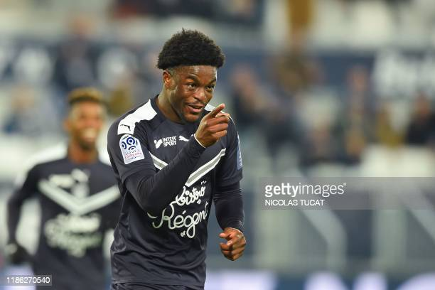 Bordeaux's English forward Josh Maja celebrates after scoring a goal during the French L1 football match between FC Girondins de Bordeaux and Nimes...