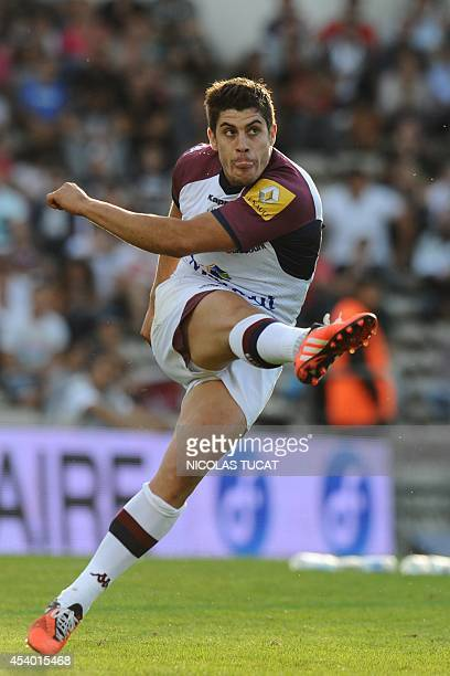 Bordeaux's fly half Pierre Bernard kicks the ball during the French Top 14 rugby union match Union BordeauxBegles vs Racing Metro 92 on August 23...