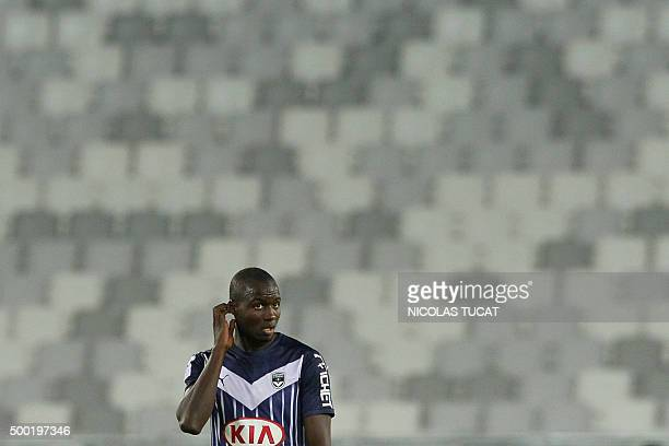 Bordeaux's French defender Cedric Yambere reacts during the French Ligue1 football match between Bordeaux and Guingamp on December 6 2015 at the...