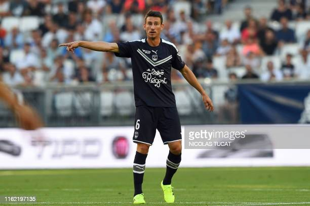 Bordeaux's French defender Laurent Koscielny gestures during the French L1 football match between FC Girondins de Bordeaux and Montpellier on August...