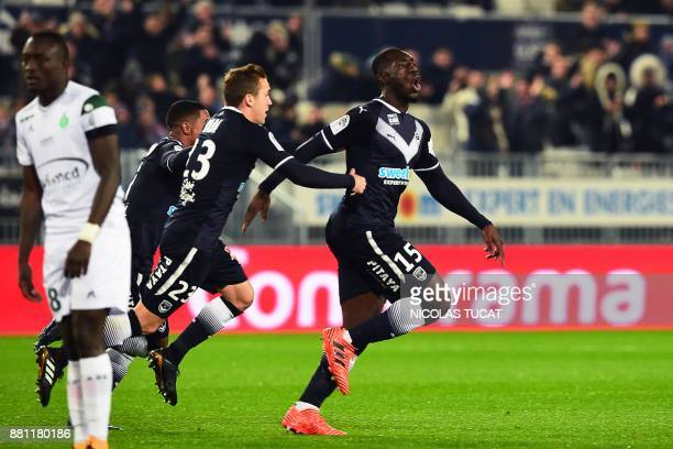 Bordeaux's French forward Alexandre Mendy celebrates after scoring a goal during the French L1 football match between Bordeaux and Saint-Etienne on...