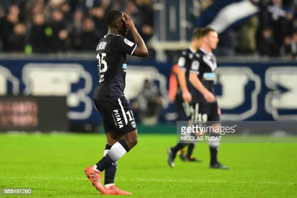 Bordeaux's French forward Alexandre Mendy reacts during the French Ligue 1 football match between Bordeaux and Strasbourg at The Matmut Atlantique...