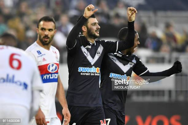 Bordeaux's French forward Gaetan Laborde celebrates after scoring a goal from a penalty during the French Ligue 1 football match between Bordeaux and...