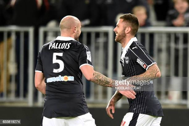 Bordeaux's French forward Jeremy Menez reacts after scoring a goal during the French Ligue 1 football match between Bordeaux and Rennes on February 4...