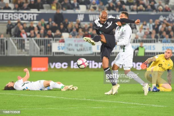 Bordeaux's French forward Jimmy Briand scores a goal during the French L1 football match between FC Girondins de Bordeaux and AS SaintEtienne at the...