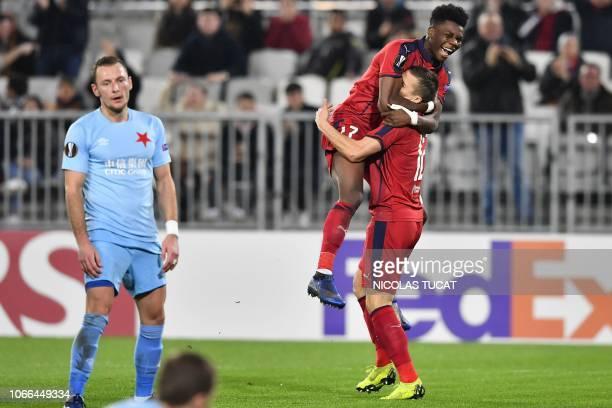 Bordeaux's French forward Nicolas De Preville and Bordeaux's French midfielder Aurelien Tchouameni celebrate after scoring a goal during the Europa...