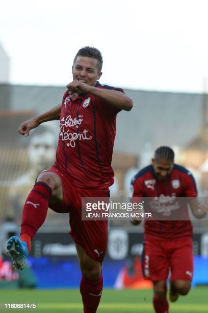 Bordeaux's French forward Nicolas de Preville jubilates after scoring a goal during the French L1 football match between SCO Angers and FC Girondins...