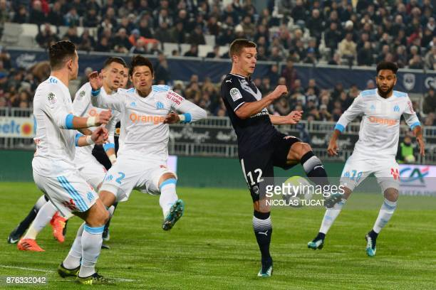 Bordeaux's French forward Nicolas De Preville kicks the ball during the French L1 football match between Bordeaux and Marseille on November 19 2017...