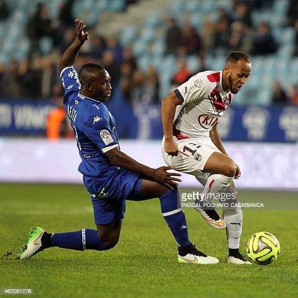 Bordeaux's French forward Thomas Toure vies with Bastia's Malian midfielder Abdoulaye Keita during the French L1 football match Bastia against...