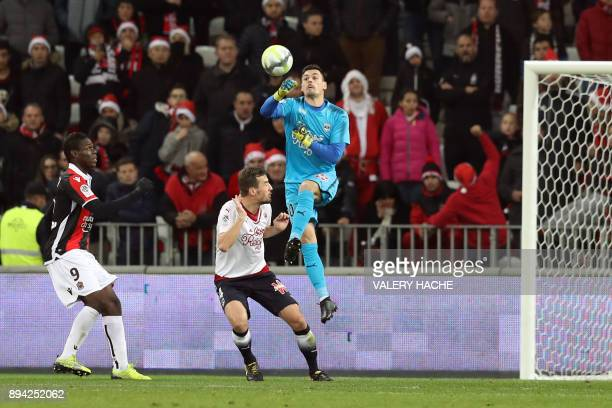 Bordeaux's French goalkeeper Jerome Prior jumps during the French L1 football match Nice vs Bordeaux on December 17 2017 at the 'Allianz Riviera'...