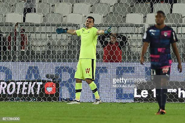 Bordeaux's French goalkeeper Jerome Prior reacts after conceding a goal during the French L1 football match between Bordeaux and Lorient on November...