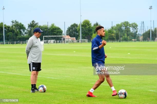 Bordeaux's French head coach Jean-Louis Gasset attends a training session of the Girondins de Bordeaux's team in Le Haillan, near Bordeaux,...