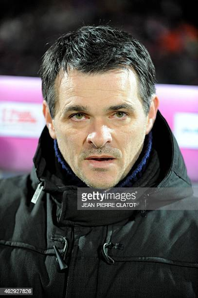 Bordeaux's French head coach Willy Sagnol attends the French L1 football match Evian against Bordeaux on February 7 2015 at the stadium Parc des...