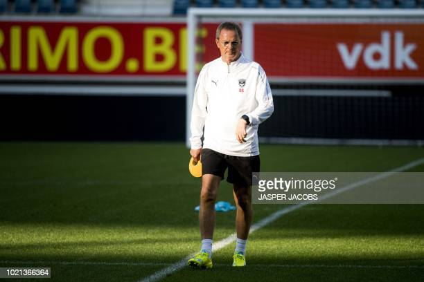 Bordeaux's French interim head coach Eric Bedouet takes part in a training session on August 22 2018 in Gent ahead of the UEFA Europa League first...