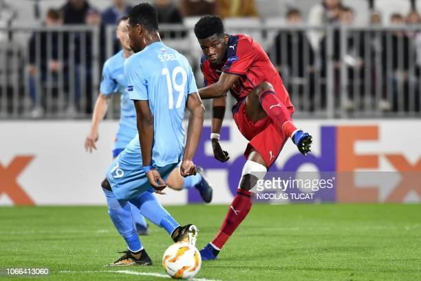Bordeaux's French midfielder Aurelien Tchouameni shoots the ball during the Europa league football match of Group C between Bordeaux and Slavia...