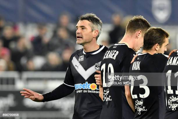 Bordeaux's French midfielder Jeremy Toulalan gestures during the French L1 football match between Bordeaux and Montpellier on December 20 2017 at the...