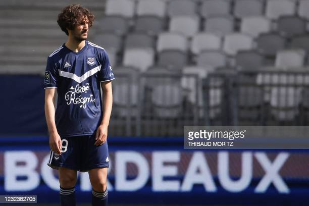 Bordeaux's French midfielder Yacine Adli looks on during the French L1 football match between Girondins de Bordeaux and Monaco at the...