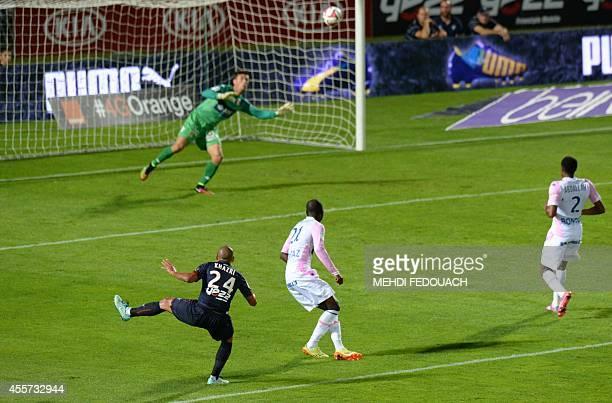 Bordeaux's French Tunisian midfielder Wahbi Khazri shoots to score his team's second goal during the French L1 football match Bordeaux vs Evian...