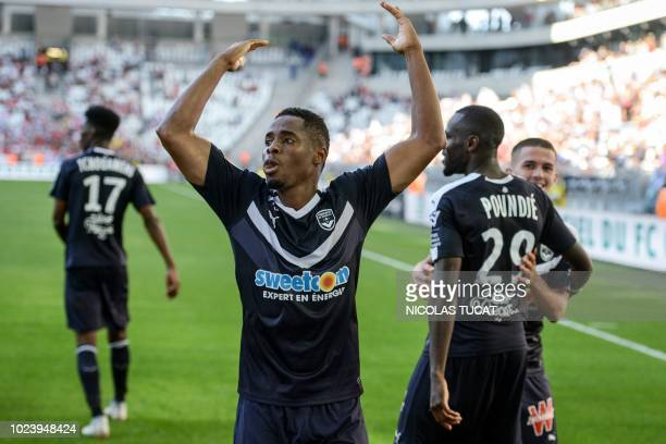 Bordeaux's Guinean forward Francois Kamano celebrates after scoring a goal during the French L1 football match between Bordeaux and Monaco on August...