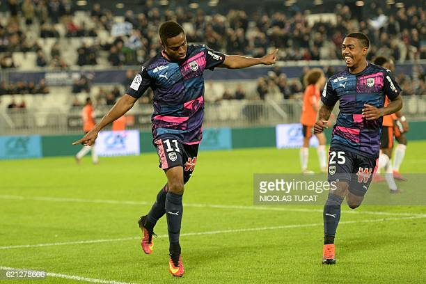 Bordeaux's Guinean forward Francois Kamano celebrates after scoring a goal during the French L1 football match between Bordeaux and Lorient on...