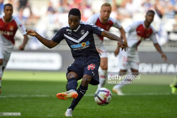 TOPSHOT Bordeaux's Guinean forward Francois Kamano scores a goal during the French L1 football match between Bordeaux and Monaco on August 26 2018 at...