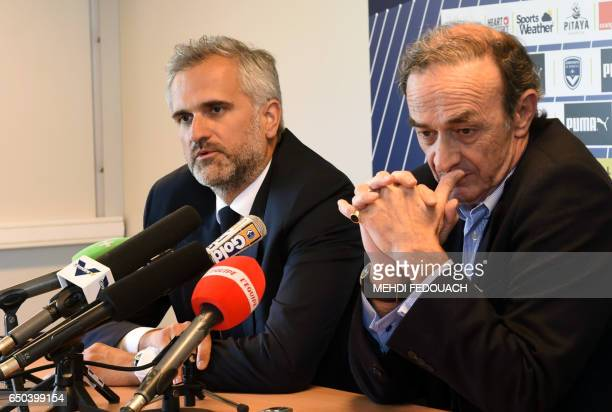 Bordeaux's L1 football club's former French president JeanLouis Triaud and his replacement Stephane Martin give a joint press conference on March 9...