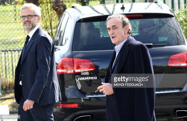 Bordeaux's L1 football club's former French president JeanLouis Triaud and his replacement Stephane Martin arrive to give a joint press conference on...