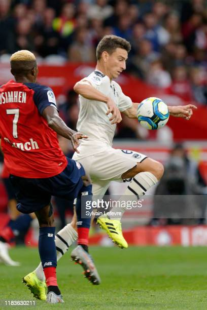 Bordeaux's Laurent Koscielny and Lille's Victor Osimhen during the Ligue 1 match between Lille and Bordeaux at Stade Pierre Mauroy on October 26,...