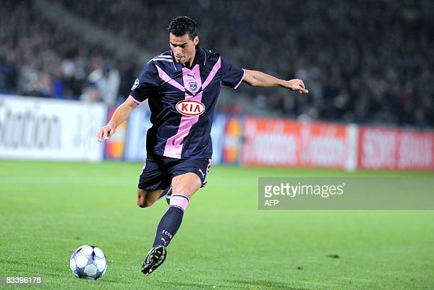 Bordeaux's midfieder Yoann Gourcuff kicks the ball during the Champions League football match Bordeaux vs Cluj on October 22 2008 at the Chaban...
