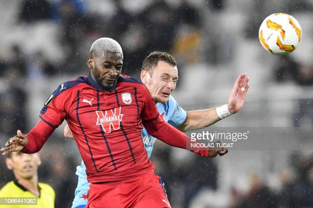 TOPSHOT Bordeaux's midfielder Younousse Sankhare vies with Prague's midfielder Jan Matousek during the Europa league football match of Group C...