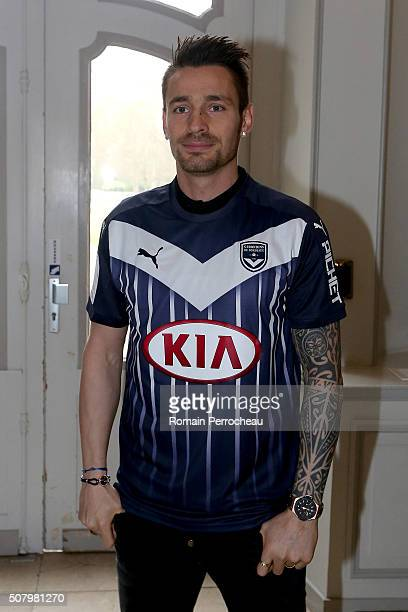 Bordeaux's new loan signing Mathieu Debuchy poses during a photo call at Bordeaux's training ground Chateau du Haillan on February 2 2016 in Bordeaux...