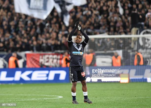 Bordeaux's player Malcom acknowledges the fans after scoring a goal during the French L1 football match Bordeaux vs Toulouse on May 12, 2018 at the...