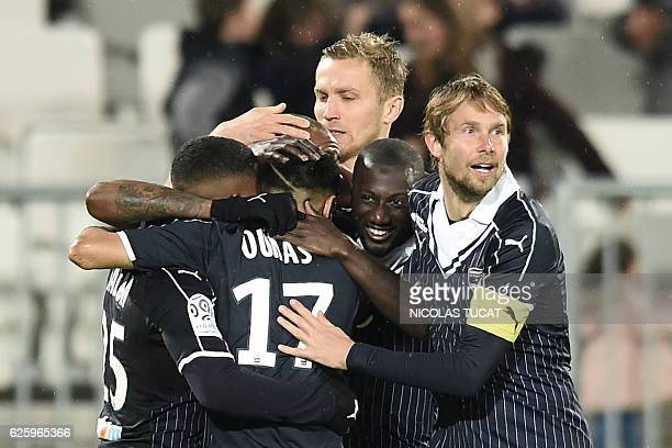 Bordeaux's players celebrate a goal during the French L1 football match between Bordeaux and Dijon at the Matmut Atlantique stadium in Bordeaux...