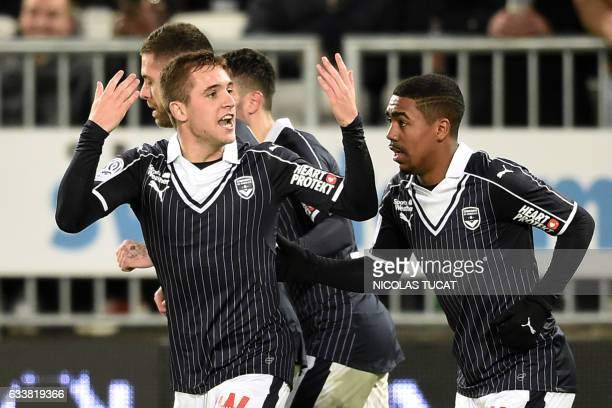 Bordeaux's players celebrate after scoring a goal during the French Ligue 1 football match between Bordeaux and Rennes on February 4 2017 at Matmut...