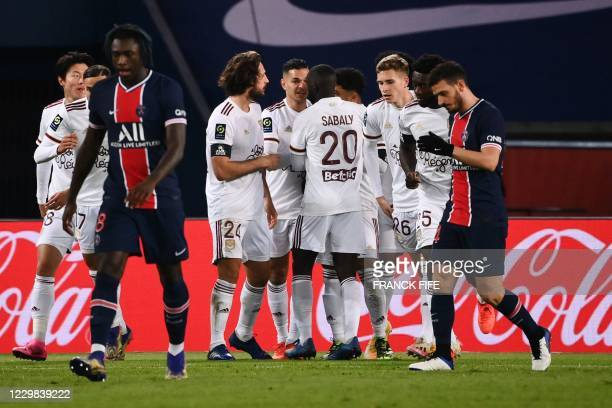 Bordeaux's players celebrate after scoring a goal during the French L1 football match between Paris Saint-Germain and Girondins de Bordeaux at the...