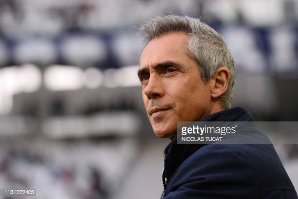 Bordeaux's Portuguese head coach Paulo Sousa looks on prior to the French L1 football match between Girondins de Bordeaux and Rennes on March 17 2019...