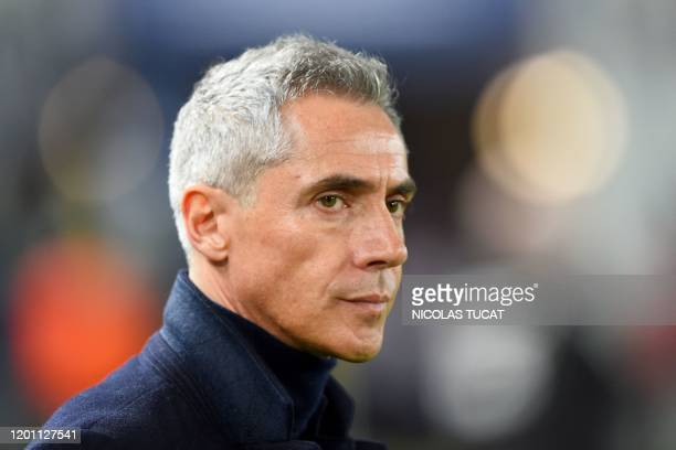 Bordeaux's Portuguese head coach Paulo Sousa looks on prior to the French L1 football match between FC Girondins de Bordeaux and Dijon Football...