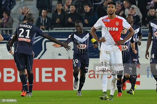 Bordeaux's Senegalese forward Henri Saivet celebrates after scoring a goal during the French League Cup football match between Bordeaux and Monaco on...