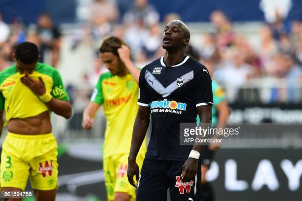 Bordeaux's Senegalese midfielder Younousse Sankhare reacts during the French Ligue 1 football match between Bordeaux and Nantes on October 15 2017 in...