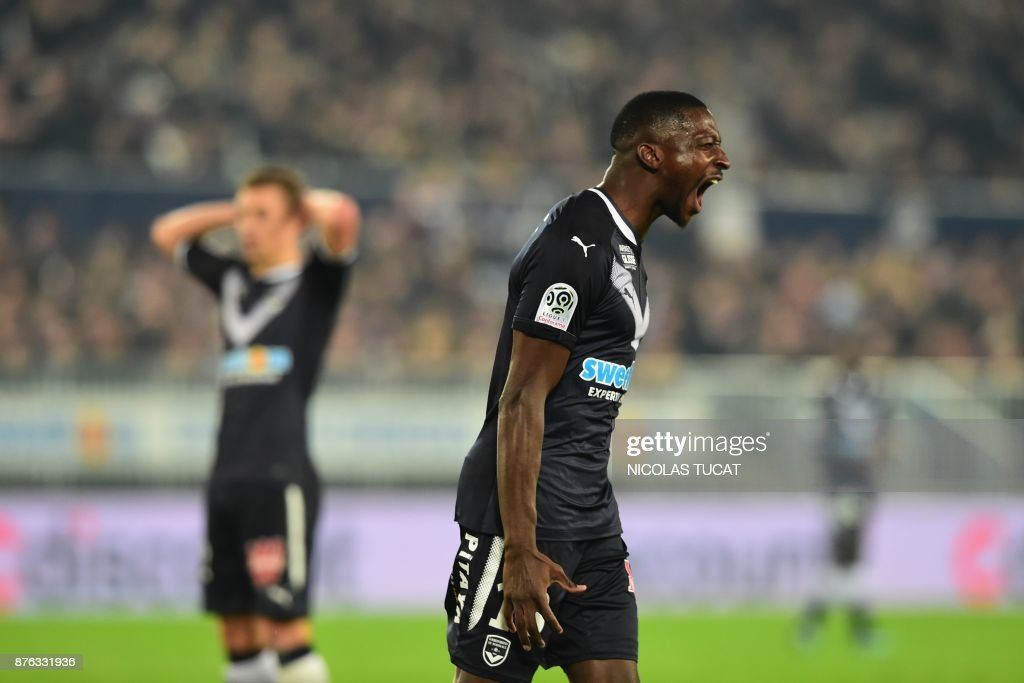 Bordeaux's Senegalese midfielder Younousse Sankhare reacts during the French L1 football match between Bordeaux and Marseille on November 19, 2017 at the Matmut Atlantique stadium in Bordeaux, southwestern France. /