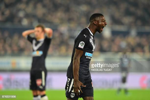 Bordeaux's Senegalese midfielder Younousse Sankhare reacts during the French L1 football match between Bordeaux and Marseille on November 19 2017 at...