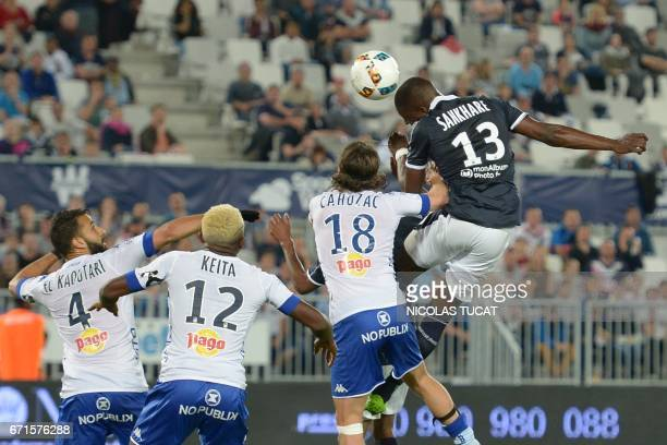 Bordeaux's Senegalese midfielder Younousse Sankhare scores a goal during the French L1 football match between Bordeaux and Bastia on April 22 2017 at...